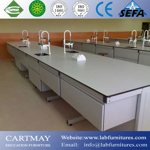 student tables with sink