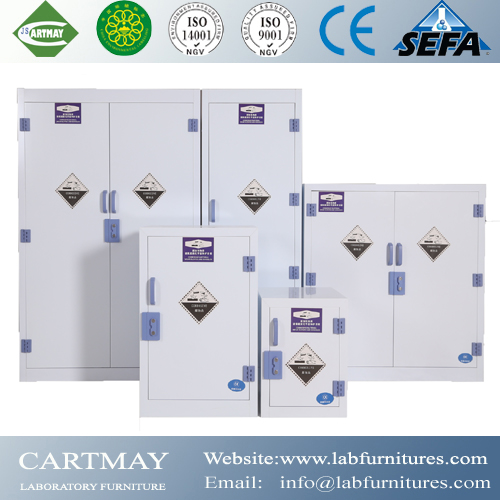 Storage cabinet for chemicals and corrosive substances