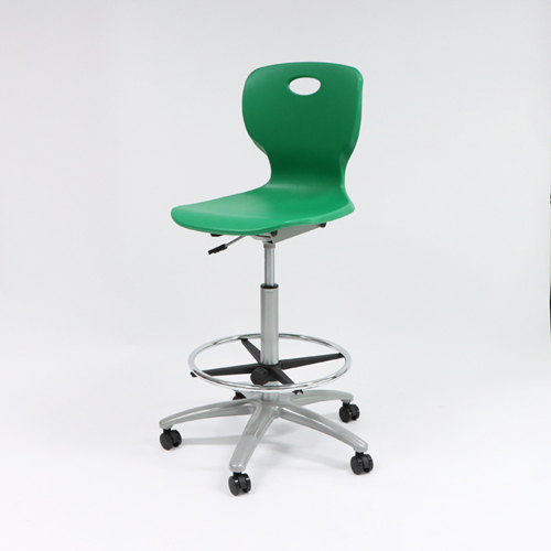 Modern durable PP plastic student chair with caster and foot ring
