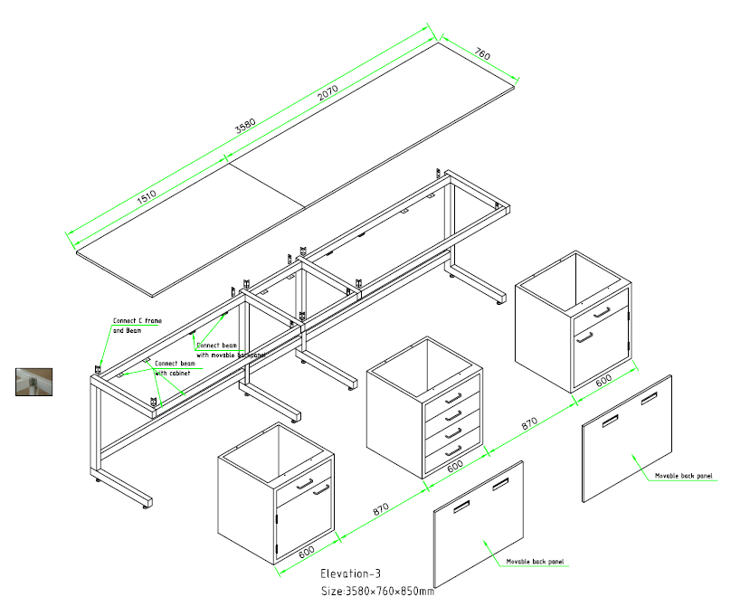 illustration for laboratory wall bench installation with steel frame